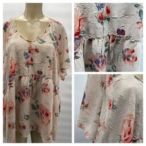 LUCKY BRAND SZ 3X Pink Floral Blouse